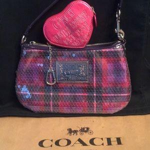 Coach Poppy Plaid Pink Sequin+Heart Keychain Case